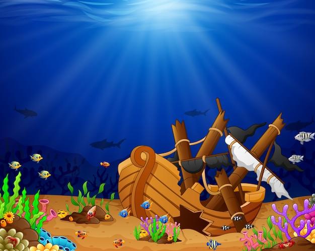 Ancient broken ship undersea Premium Vector