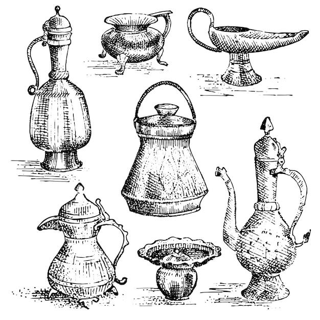 Древние медные вазы, набор кувшинов, греческий или арабский вид. рисованной, гравированный старый эскиз иллюстрации с коллекцией блюд Premium векторы