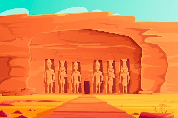 Ancient egypt, abu simbel small temple, cartoon Free Vector