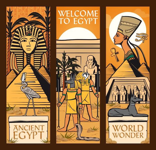 Знамена древнего египта. великие пирамиды, боги Premium векторы
