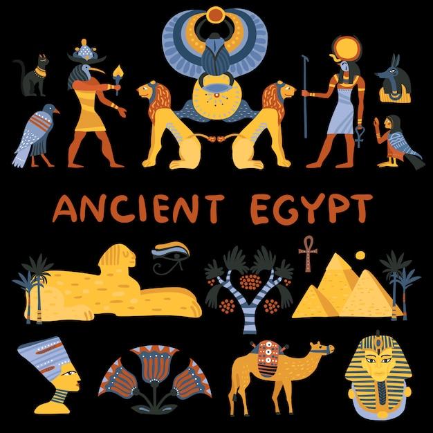 Ancient egypt decorative icons set Free Vector