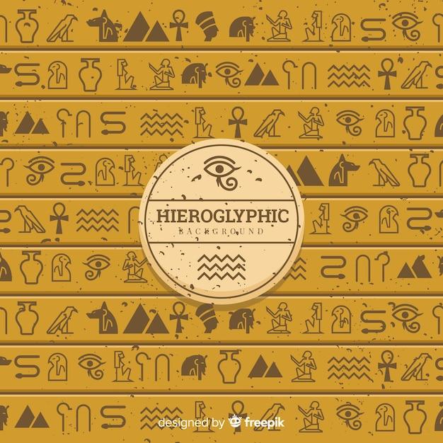 Ancient egypt hieroglyphics background with flat design Premium Vector