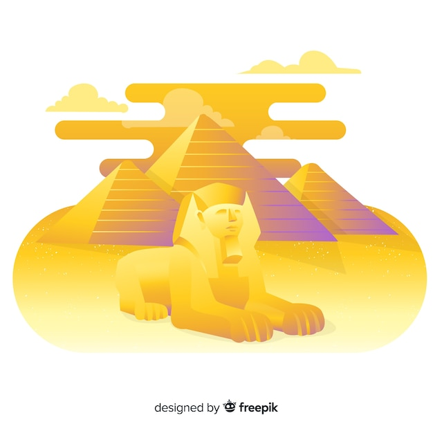 Ancient egypt landscape with flat design Free Vector