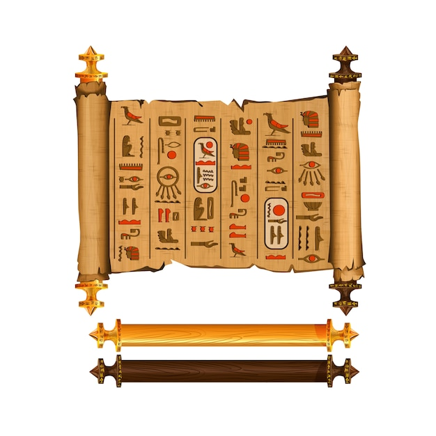 Ancient egypt papyrus scroll cartoon vector collection with hieroglyphs and egyptian culture Free Vector