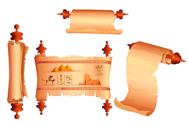 古代エジプトのパピルススクロール漫画ベクトル 無料ベクター