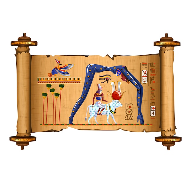 Ancient egypt papyrus scroll cartoon Free Vector