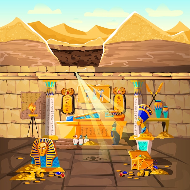 Ancient egypt pharaoh lost tomb Free Vector