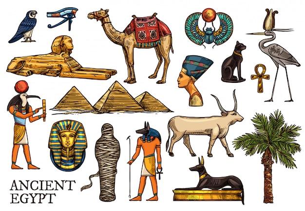 Ancient egypt religion god, pharaon pyramid, mummy Premium Vector