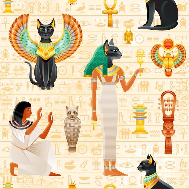 古代エジプトのシームレスなパターン。猫バステットの女神。古いファラオシンボルの背景。スカラベの羽と金のネックレス、奴隷、瘻孔を持つ黒い猫。 Premiumベクター