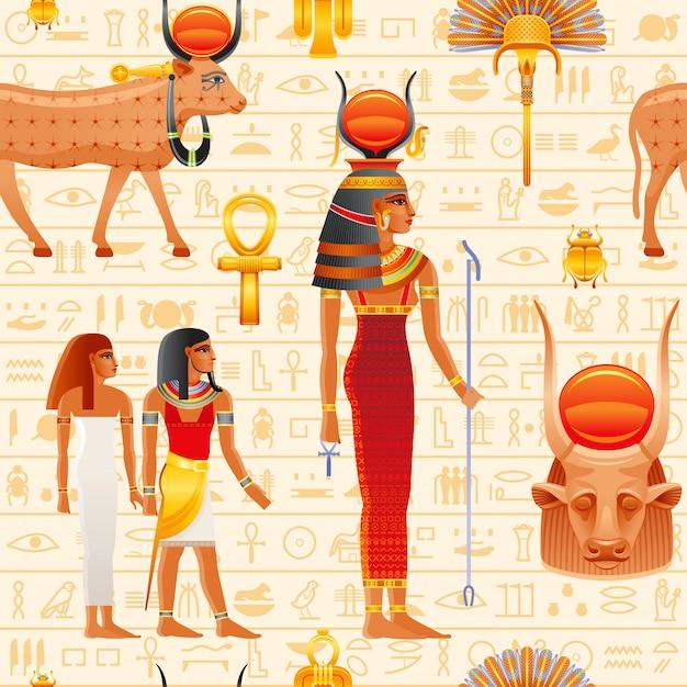 古代エジプトのシームレスなパターン。牛ハトホル女神。古いファラオ。太陽の神、牛の角。古代エジプト美術。 Premiumベクター