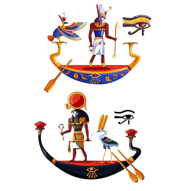Ancient egypt sun god ra or horus cartoon Free Vector