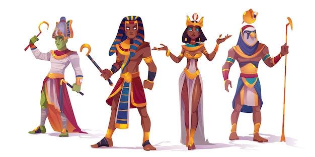Ancient egyptian god amun, osiris, pharaoh and cleopatra. vector cartoon characters of egypt mythology, king and queen, god with falcon head, horus and amon ra Free Vector