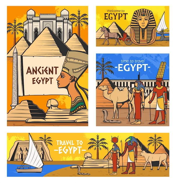 Ancient egyptian gods and pyramids Premium Vector