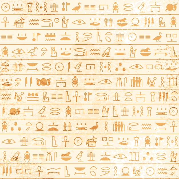 Ancient  egyptian papyrus with hieroglyphs seamless pattern. historical vector pattern from ancient egypt. Premium Vector