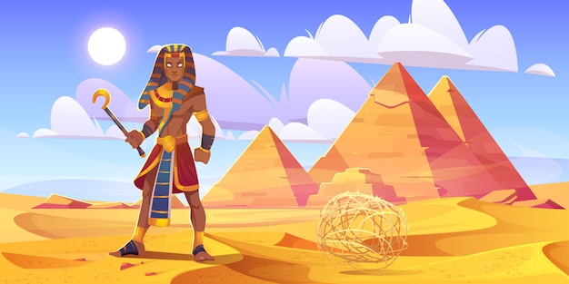 Ancient egyptian pharaoh with rod in desert with pyramids. vector cartoon illustration of landscape with yellow sand dunes, pharaoh tombs, figure of king of egypt and tumbleweed Free Vector