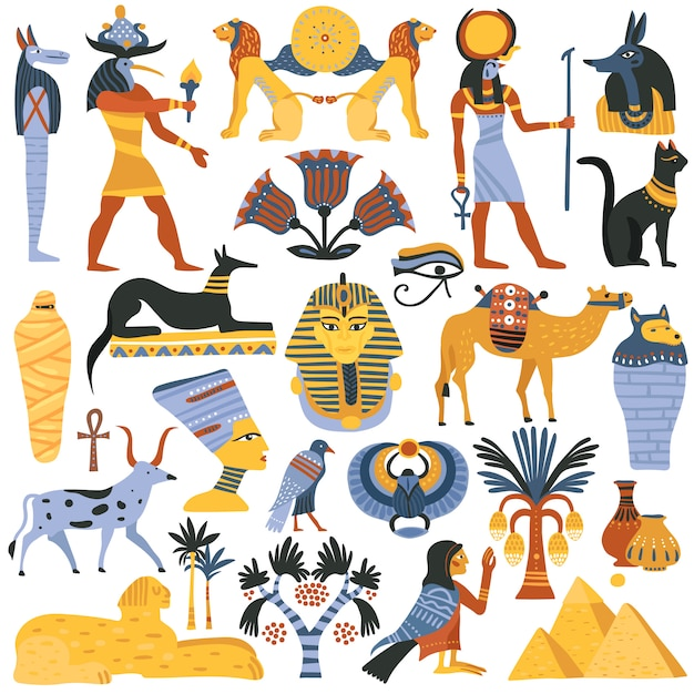 Ancient egyptian religion elements set Free Vector