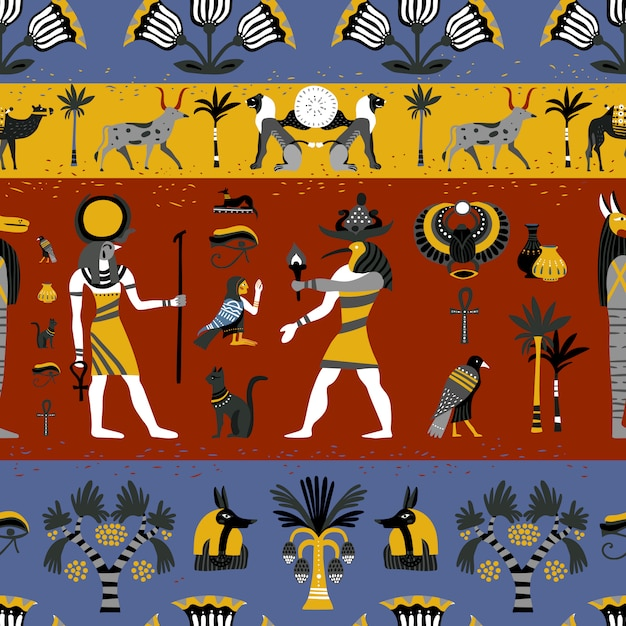 Ancient egyptian religion seamless pattern Free Vector