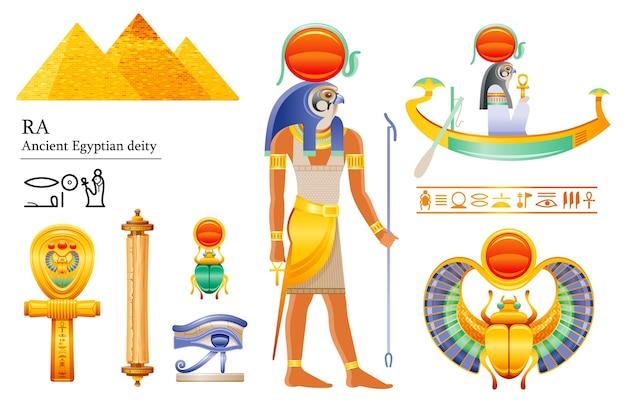 古代エジプトの太陽神raアイコンセット。鷹の神、太陽の円盤、バーク、スカラベ、パピルス巻物、アンク、目。 3 d漫画イラスト。 Premiumベクター