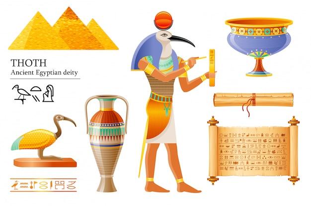 古代エジプトのトート、知恵の神、象形文字の執筆。イビス鳥神、パピルス巻物、花瓶、鍋。エジプトからの古い壁画ペイントアートアイコン。 Premiumベクター
