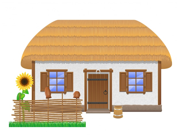 Ancient farmhouse with a thatched roof vector illustration Premium Vector