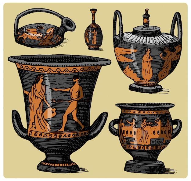 Древняя греция, старинный амфорный набор, ваза со старинными сценами жизни, гравированная рука, нарисованная в стиле эскиза или дерева, ретро Premium векторы