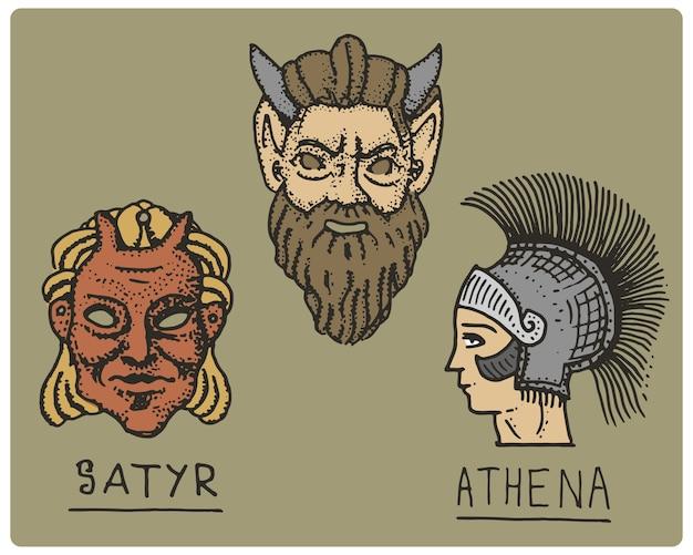 Древняя греция, античные символы, профиль афины и лицо сатира, гравированная рука, нарисованная в стиле эскиза или дерева, старый ретро Premium векторы
