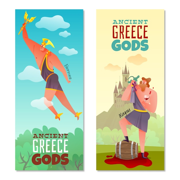 Ancient greece gods banners Free Vector