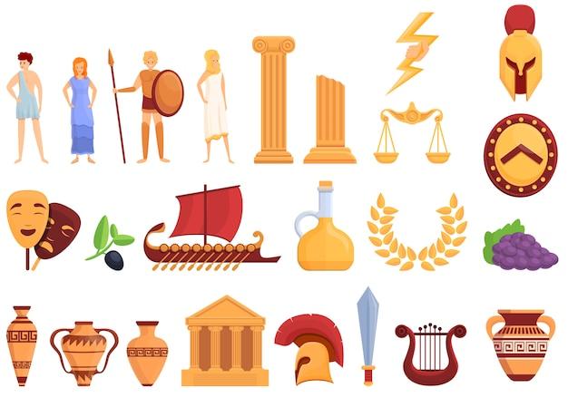 Набор иконок древней греции, мультяшном стиле Premium векторы