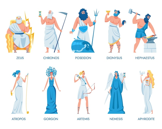 Ancient greek gods and goddesses set. set illustration Free Vector