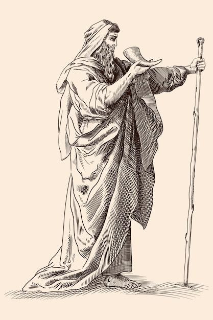 Древнегреческий старик в плаще с посохом и рогом в руках.   Премиум векторы