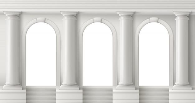 Ancient greek temple with white pillars Free Vector