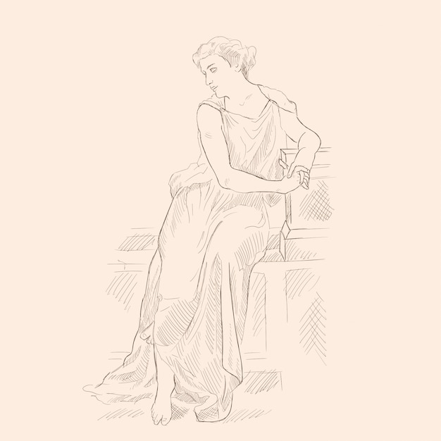 An ancient greek woman in a tunic sitting on a stone parapet. vector image on beige background. Premium Vector