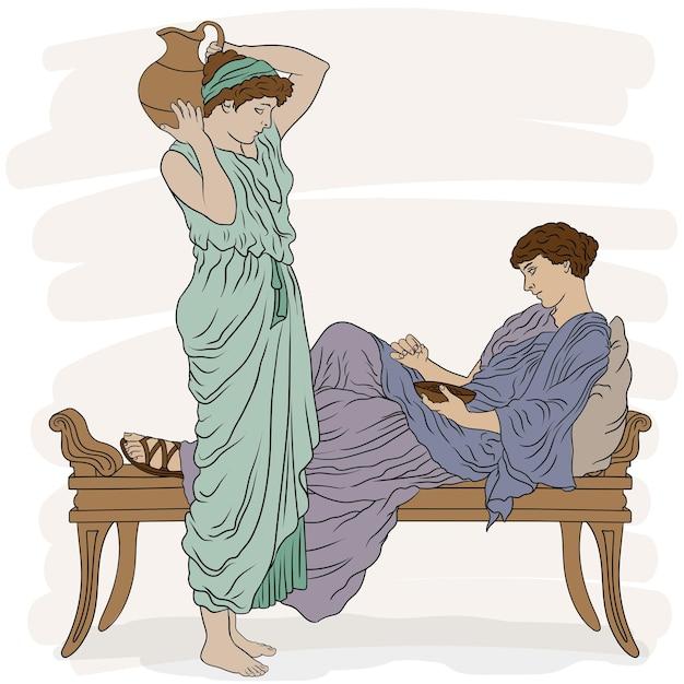 침실에서 튜닉을 입은 고대 그리스 여성 프리미엄 벡터