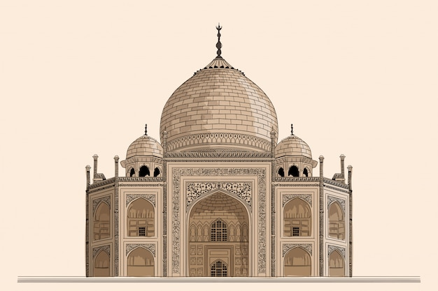 Ancient indian temple mausoleum of taj mahal. drawing on a beige background. Premium Vector