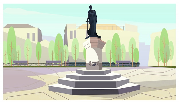 Ancient king with sword monument on stand illustration Free Vector