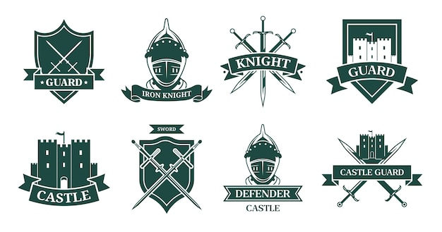 Ancient knight or fighter monochrome flat sign set. medieval emblem and shield with warrior armor, helmet, swords or castle vector illustration collection. mascot, military and ancient army Free Vector