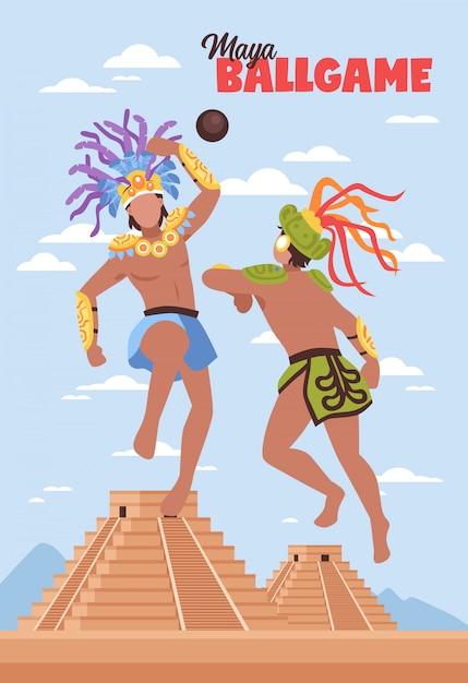 Sfondo di sport antichi maya Vettore gratuito