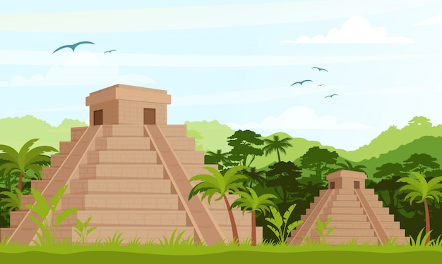 Ancient mayan pyramids in the jungle in daytime in flat cartoon style. Premium Vector