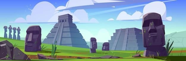 Antiche piramidi maya e statue moai sull'isola di pasqua. Vettore gratuito