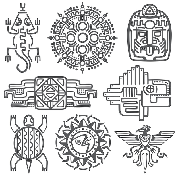 Ancient mexican vector mythology symbols Premium Vector