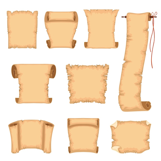 Ancient parchments illustrations isolated on a white background Premium Vector