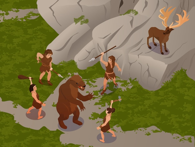 Ancient people using primitive hunting weapons Free Vector