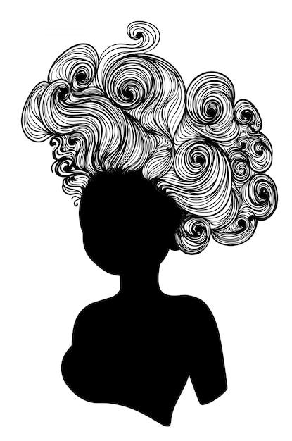 Ancient rococo hairstyle Premium Vector
