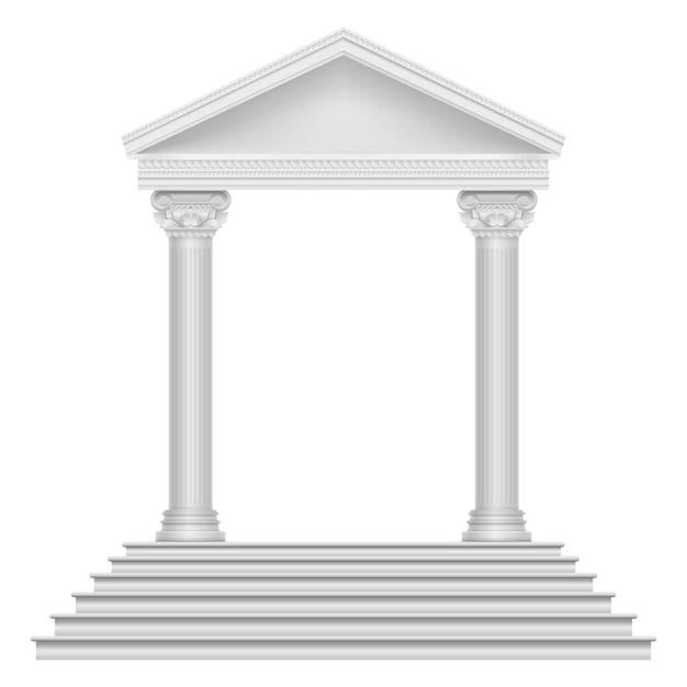 Ancient roman temple with steps and columns. Premium Vector