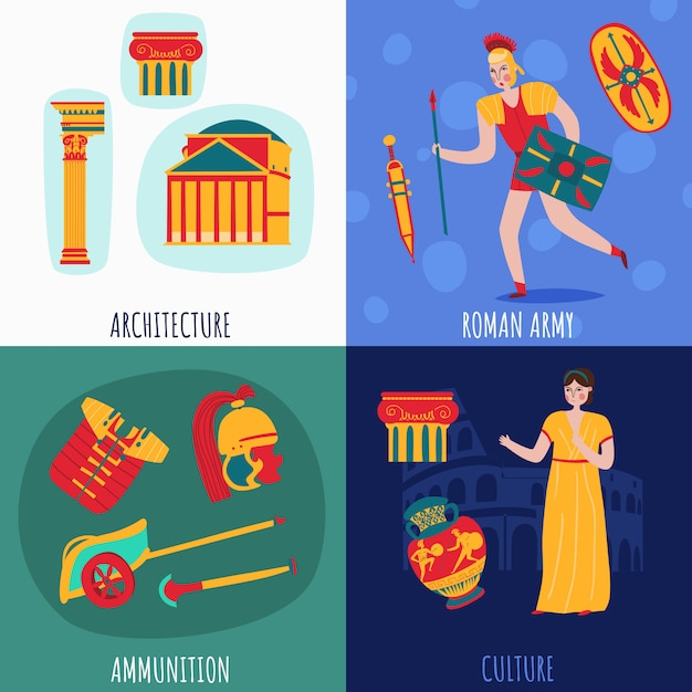 Ancient rome empire banner collection Free Vector