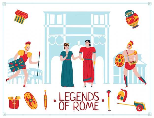 Ancient rome empire illustration Free Vector