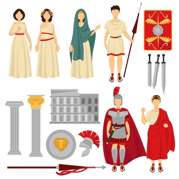 Ancient rome male and female characters and old relics Premium Vector