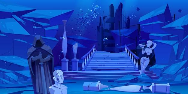 Древние руины, старая архитектура, затонувшая под водой в море или океане. Бесплатные векторы