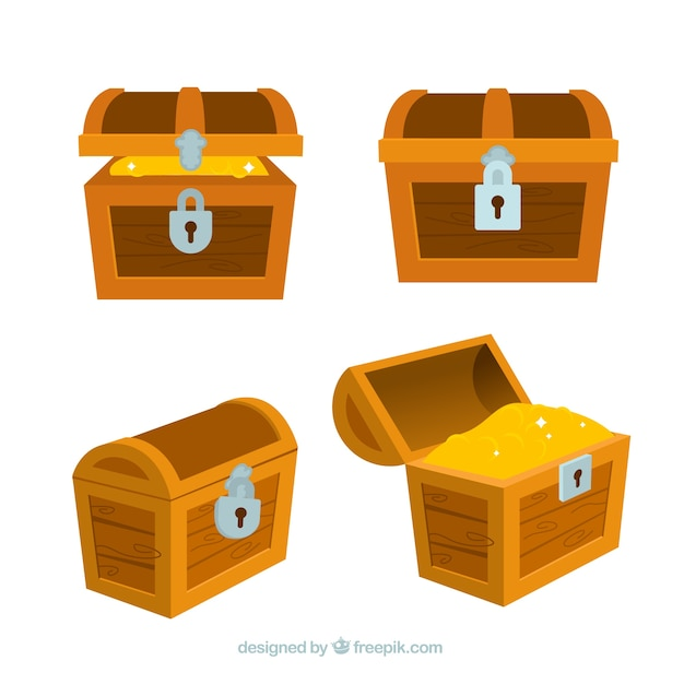 Ancient treasure box collection with flat design Free Vector