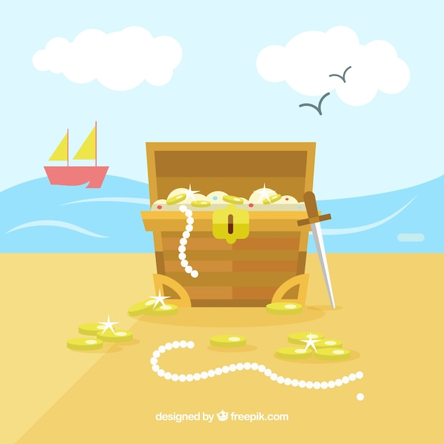 Ancient treasure chest with flat design Free Vector